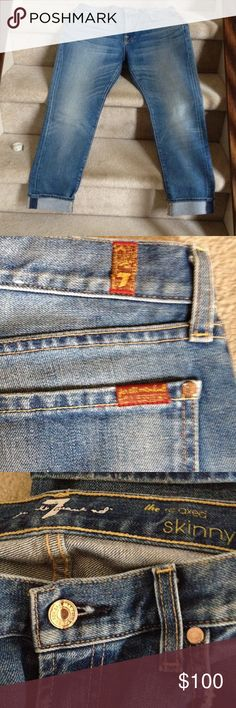 """7 For All Mankind Great """"relaxed skinny"""" jeans in a perfect distressed faded blue with wiskering in the front. Wear them rolled up or down. 28inches long unrolled and size 29. Brand new without tags. 7 For All Mankind Jeans Skinny"""