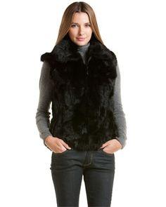 Surell Black Basic Rabbit Fur Vest