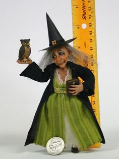 OOAK Mini 1:12 Sculpted Witch, Dollhouse Doll, Primdolly (sheila Bentley)