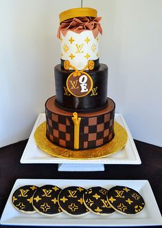 Louis Vuitton Cake and Cookies by Simply Sweet Creations (www.simplysweetonline.com)