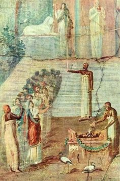 Fresco from Pompeii showing a priest and disciples in a religious ceremony at the temple of Isis. 1st century, BCE.