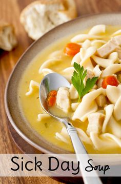"Use this spreadsheet with substitutions for Chicken Noodle Soup recipes so you can make ""sick day soup"" with whatever you already have at home! Because who wants to leave home to buy groceries when you're sick!"