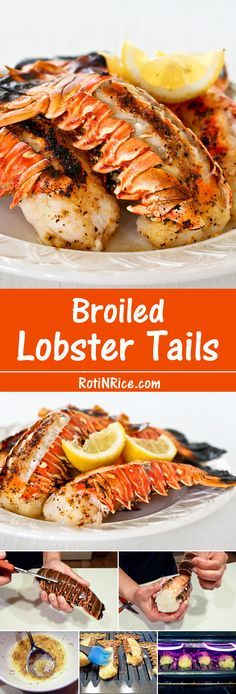 Broiled Lobster Tails - Flavored with lemon pepper butter for that special occasion. It is totally worth it! Get fancy with these succulent Broiled Lobster Tails flavored with lemon pepper butter for that special occasion. It is totally worth it! Lobster Dishes, Lobster Recipes, Fish Dishes, Fish Recipes, Seafood Recipes, Cooking Recipes, Salmon Recipes, Vegetarian Recipes, Broiled Lobster Tails Recipe