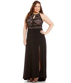 Morgan & Co. Plus Lace Keyhole Bodice Long Dress #Dillards