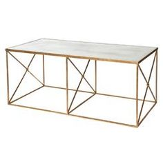 Furano Hollywood Regency Gold Antique Mirror Coffee Table | Kathy Kuo Home