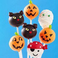 Halloween Cake Pops      1 18 14 ounce box cake mix,  13 x 9 x 2inch cake pan,  Large mixing bowl,  1 16 ounce container prepared frosting,  Large metal spoon,  Wax paper,  2 baking sheets,  Plastic wrap,  Black edibleink pen