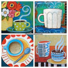 French Roast (sold) Full City (sold) Caffe Breve (sold) Peruvian (sold) I'm going to be hanging art at a local coffee shop in September, and thought it would be fun to paint a few coffee themed … Continue reading → Coffee Cup Art, Iced Coffee, Coffee Shop, Painting For Kids, Art For Kids, Cafe Art, Painted Cups, Mini Canvas Art, Coffee Painting