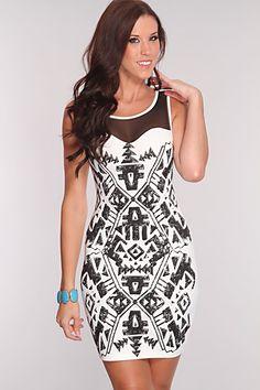 White Black Tribal Print Sexy Party Dress