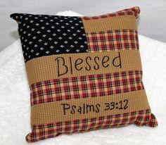 primitive americana decor   Blessed Americana Flag Pillow Primitive Country Decor NIP Psalms 33 12 ...