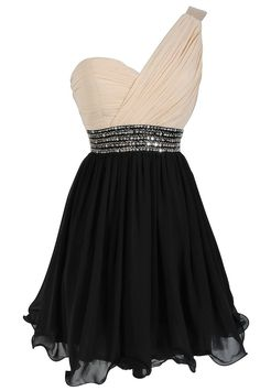 Black and white one-shoulder dress