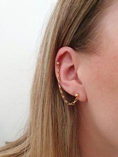 Top Ear Earrings, Helix Cartilage Earrings, Helix Piercing Jewelry, Ear Piercings Helix, Multiple Ear Piercings, Chain Earrings, Unique Earrings, Silver Earrings, Double Helix Piercing