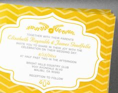 Gold Chevron Wedding Invitation
