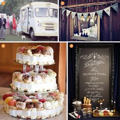 Better yet, Get a vintage ice cream truck to come to your wedding like in the top left.