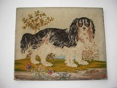 King Charles Spaniel Antique Tapestry Picture Needlepoint Adorable | eBay