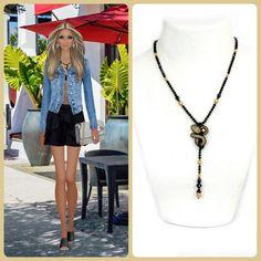 Our glam-and-go necklace as seen on Covet Fashion   #doricsengeri #delicate #pendant #necklace #blacknecklace #gotonecklace #everydaynecklace