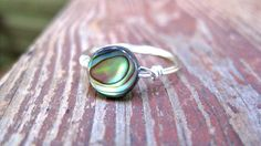 Rustic Shine- Sterling Silver Wire Wrapped Abalone Ring- Made to order- Custom Size