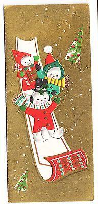 Vintage Snowman Family ON Sleigh Holidays Greeting Card  