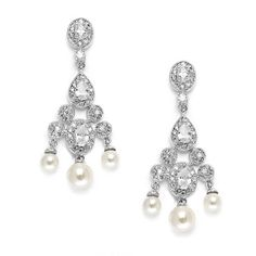 Cubic Zirconia Bridal Chandelier with Pearl Drops $83.95 www.nuptialsboutique.com #bride #brides #wedding #weddings #weddingjewelry #jewelry #bridal jewelry #bridesmaidsgifts #earrings #silver #diamond #pearls