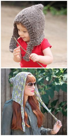 DIY Woodland Knit Hood Free PatternThis is a beginner pattern - if you can knit a square, you can knit this hood. Top Photo: Child's Woodland Knit Hood Free Pattern from Gina Michele here. Bottom Photo: Adult Woodland Knit Hood Free Pattern from Gina...