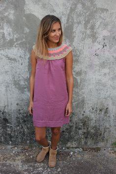boho style hand crocheted dress simple unique por jasminbiarritz