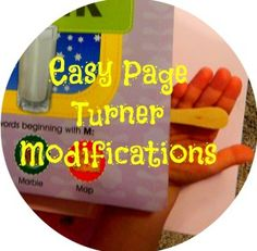 Simple tip on how to turn pages in a book easier. It& perfect for people with arthritis, cerebral palsy, hand weakness, and other special needs. Kids Learning Activities, Motor Activities, Hands On Activities, Classroom Activities, Sensory Activities, Classroom Ideas, Cerebral Palsy Activities, Pediatric Ot, Occupational Therapy