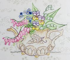 Hand Embroidery Pattern - Teapot Bouquet - Crabapple Hill Studio