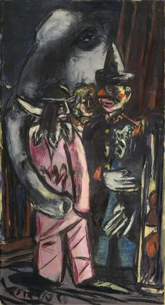Max Beckmann - Elephant and Clowns in Stall, 1944