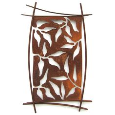John and Heather Zondervan creates this artistic, Outdoor Steel Shield Wall Art-Hilo. There are cut out details in a dramatic design combine with curved steel to form an abstract wall art piece. It's