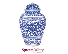 Blue and white LARGE ginger jar ornate by SproutGalleryDesigns, $39.00