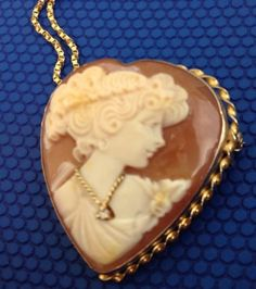 Antique-14K-Carved-Shell-Cameo-Diamond-Brooch-Pin-Pendant-WITH-Box-Link-Necklace