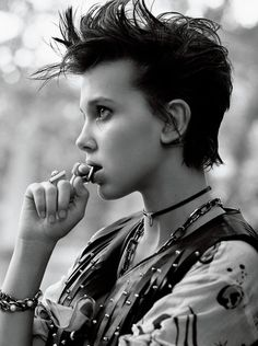 Stranger Things' Millie Bobby Brown Reveals Finn Wolfhard Was Her First Kiss!: Photo Stranger Things' Millie Bobby Brown covers her first ever magazine in this Interview mag November 2016 cover shoot. Millie Bobby Brown, Estilo Punk Rock, Bobby Brown Stranger Things, Eleven Stranger Things Actress, Cooler Style, Rhonda Byrne, Puffy Paint, Brown Girl, Mannequins