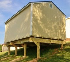 Post & Beam shed foundation is an option for significant slope.