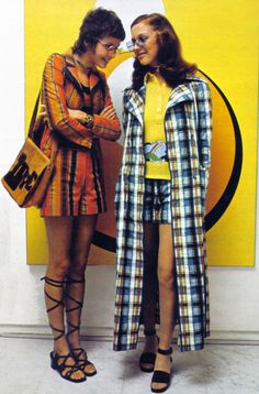 Burda International 1971-72 vintage fashion style short shorts long coat jumpsuit shorts suit tan orange brown blue white black plaid yellow shirt sandals 70s era rock star looks ziggy