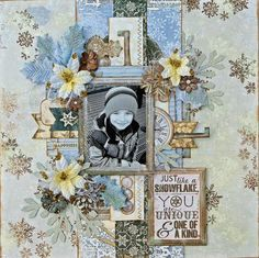 Scraps Of Darkness Scrapbook kits: blue and brown winter layout created using the 'Snow Angels' kit by Kathy
