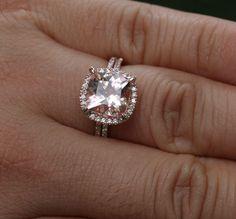 Cushion Morganite Engagement Ring Morganite par Twoperidotbirds