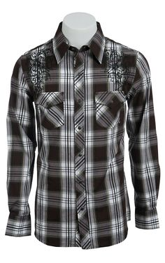 Rock & Roll Cowboy Men's Long Sleeve Western Snap Shirt B2S6454