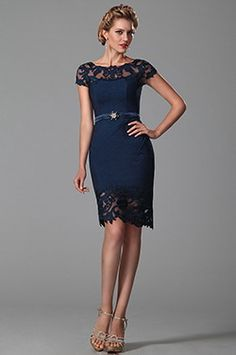 Sexy Lace Short Sleeves Dark Blue Mother of the Bride Dress (26150105) - USD 140.81