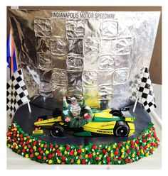 Indy 500 Victory Lane Cake (we hope Tony Kanaan wins in 2013)!  See more racing party cakes and ideas at www.indycarmom.com