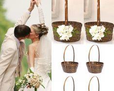 Flower girl basket - BellasBloomStudio Fall Wedding, Rustic Wedding, Wedding Ideas, Flower Girl Basket, Flower Girls, Wedding Centerpieces, Wedding Decorations, Winter Barn Weddings, Bamboo Basket