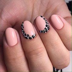 Beautiful autumn nails, Evening dress nails, Gel polish on the nails oval, Ideas of plain nails, Nails with liquid stones, Nails with rhinestones, Nails with rhinestones ideas, Original nails
