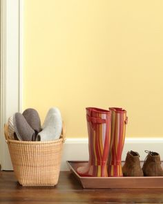 """See the """"Slipper Station"""" in our Entryway Ideas gallery: Stop grimy shoes in their tracks by setting a boot tray next to the front door. But go the extra mile for guests by offering everyone a pair of slippers. Entryway Organization, Home Organisation, Organization Hacks, Organizing Ideas, Entryway Ideas, Organized Entryway, Organising Tips, Entryway Closet, Hallway Storage"""