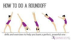 A roundoff is one of the most important gymnastics skills a gymnast will learn. How To Do Gymnastics, Gymnastics For Beginners, Gymnastics At Home, Gymnastics Lessons, Gymnastics Stretches, Gymnastics Clubs, Gymnastics Tricks, Tumbling Gymnastics, Gymnastics Coaching