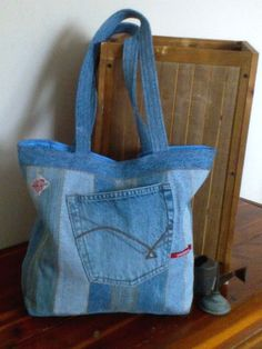 Denim Tote bag Repurposed denim jeans 15 x 12 by ripnrollrugs