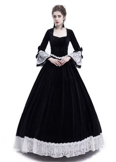 Black Velvet Civil War Theatrical Victorian Dress - D-RoseBlooming Gothic Victorian Dresses, Victorian Ball Gowns, Victorian Costume, Victorian Fashion, Gothic Fashion, Southern Belle Dress, Gothic Mode, Civil War Dress, Disney Princess Dresses