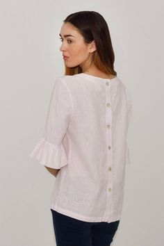 b06db1c1472a70 Linen Blouse Fashionable  Flax Blouse With Frill Sleeves  Blouse Elegant   Linen Shirt 3 4 Sleeves  Top With Back Buttoned