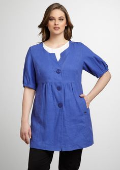 "Linen shirtdress  Collarless with button front closures  Three-quarter sleeves with pleated cuffs  Flattering seam detail  Light ruching at waist  On-seam slit pockets at lower bodice  Not lined    Material: 100% LinenApprox. measurements (size 21): sleeve length 13"", shoulder to hem 32""Care: Machine wash coldOrigin: ImportedFit: This style runs true to size chart"