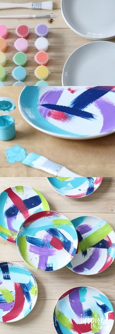 DIY Painted Plates - Save money and get creative by making your own artistic-inspired dinner plates with paint! Low-budget and easy craft. Swap the paint colors and pattern to match your style and decor. #TasteCurate