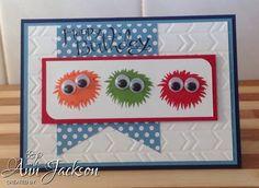 Children's Birthday card using Stampin Up Simple Stems, Sassy Salutations & Arrows Embossing folder.