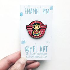 Wonder Woman Enamel Pin- Lapel Pin -Superhero Enamel Pins More superhero pins available in store and more on the way! Start collecting- great for backpacks, pencil cases, clutches and more. Matching art prints in store too. You will receive: 1 Enamel Pin Black metal and silver clasp ✪ STAY CONNECTED ✪ Facebook: https://www.facebook.com/YFL.ART Instagram: https://www.instagram.com/yfl.art/ Twitter: https://twitter.com/yfl_art Site: http:&...