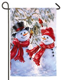 Snowman Sweethearts Satin Outdoor Flag by Evergreen Christmas Scenes, Christmas Pictures, Christmas Snowman, All Things Christmas, Winter Christmas, Christmas Holidays, Christmas Crafts, Christmas Decorations, Christmas Ornaments